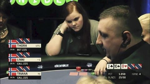 Konsentrert: Thora Arntzen spilte tirsdag poker på direktesendt tv. Skjermdump TV 2