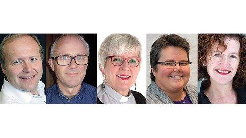 Nominert til stillingen som biskop i Sør-Hålogaland. Fra venstre: Hallgeir Elstad, Olav Rune Ertzeid, Ann-Helen Fjeldstad Jusnes, Kristine Sandmæl og Kari Veiteberg.