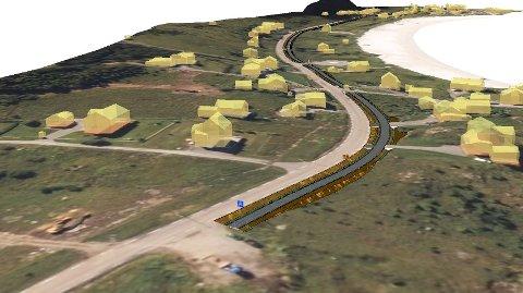 Den nye gang- og sykkelveien vil gå langs E10, fra de nye boligområdene (foran på bildet) og inn på eksisterende vei i sentrum av Ramberg.