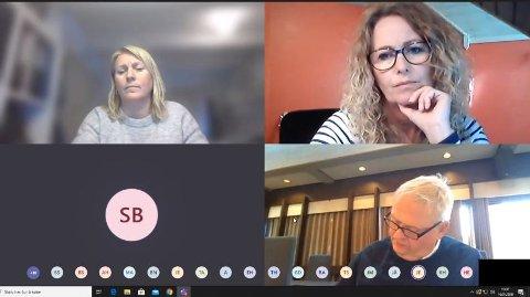 UTSATTE: Kommunestyret utsatte budsjettsaken under nettmøtet. Oppe til venstre kommunalsjef Kristin Valborgland, til høyre Frps Unni Nilsen Husøy. Under ordfører Jan Kristensen (H).