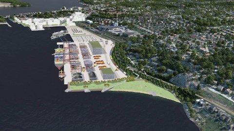 GEDIGEN: Nye Moss havn vil bli som en ny bydel, og i sør, på høyde med sørspissen av Klevberget, får vi en ny, sørvendt strand på rundt 300 meter - omtrent halvannen gang så bred som Sjøbadet.