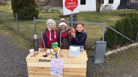 Åtteåringene Celina Roll, Karmen Brinkmann og Iben Svang har solgt mange vafler fra sin egensnekrede salgsdisk.