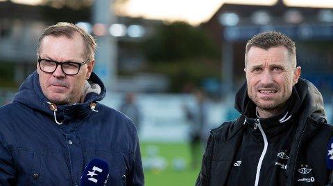 Kjetil Rekdal (tv) intervjuet Rosenborgs daværende trener Eirik Horneland før eliteseriekampen mot Kristiansund forrige sesong. Foto: Svein Ove Ekornesvåg (NTB scanpix)