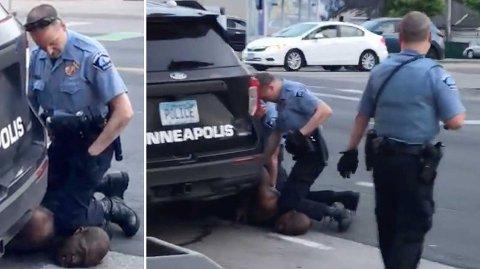RYSTENDE BILDER: Opptaket av pågripelsen i Minneapolis der George Floyd trygler om hjelp og sier han ikke får puste har gått verden over. Floyd døde i politiets varetekt etter at en politibetjent, som brukte kneet sitt til å holde ham nede, holdt ham i dette grepet i om lag åtte minutter.