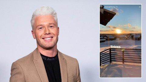 Komiker Herman Flesvig (28) la ut bilde fra hyttevinduet, mens myndighetene instendig ba folk holde seg hjemme.