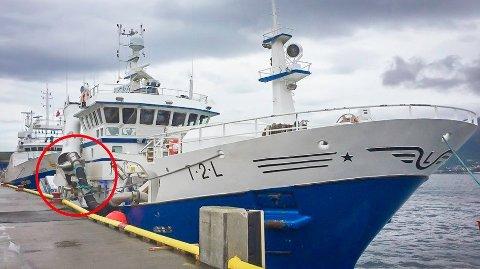 HER GIKK DET GALT: Her mellom notvinsjen og styrehusskottet ble fiskeren klemt ihjel. Et rekkverk, som sto i planene, kunne avverget ulykken om bord på Fugløyfjord.   Foto: Eskil Mehren