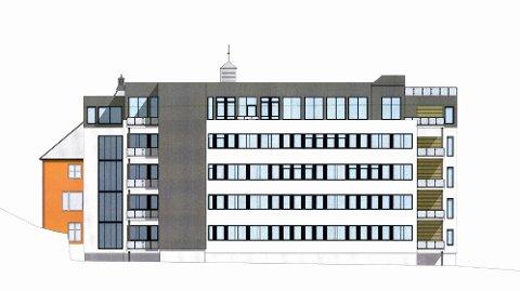 TAKTERRASSE: Utbyggerne vil glasse inn en eksisterende terrasse, samt etablere ny takterrasse på hotelldelen av Elisabeth-senteret. Her er bygget sett fra sør.