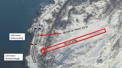 GJØR GREP: En bildeillustrasjon fra fylkeskommunen viser hvordan man skal skredsikre veien ved Pollfjellet i Lyngen.