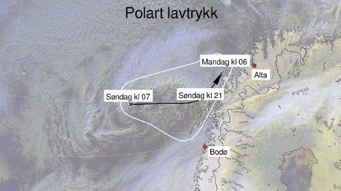 UVÆR I VENTE: Meteorologene mener det polare lavtrykket vil ha denne banen. Illustrasjon: Meteorologisk institutt