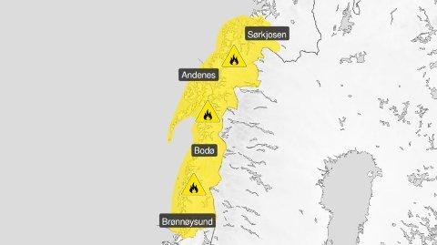 FAREVARSEL: Lite regn har ført til gult farevarsel i Troms og Nordland.