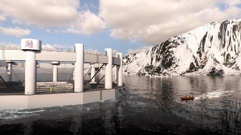 STORE DIMENSJONER: Det banebrytende anlegget skal ligge ved Vengsøya utenfor Tromsø. Her er en illustrasjon av hvordan merden vil se ut.