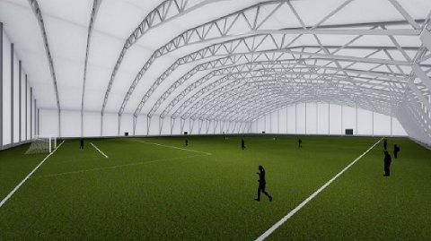 STÅL: Dagene ansees snart å være talte for den oppblåsbare fotballhallen på Raufoss. Her er en skisse av hallen Raufoss fotball nå ønsker å bygge.
