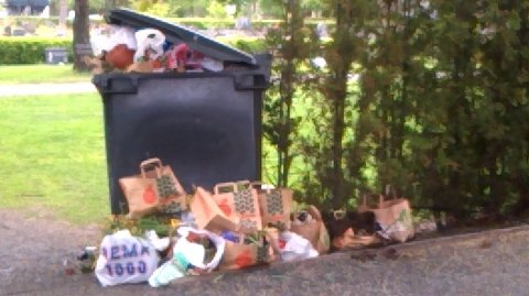 Søppeldunkene på Undersbo har vært overfylte i pinsen. På nasjonaldagen i går så det slik ut. Foto: Privat