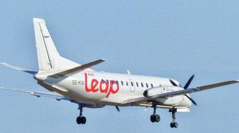 Svenske Air Leap med sin Saab 340 som de setter inn på Notodden - Bergen i august.