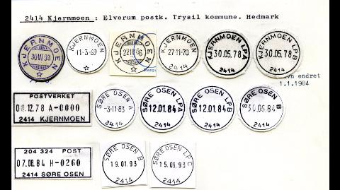 POSTNUMMERHISTORIE: Dagens 2414 ELVERUM var i forrige århundre 2414 KJERNMOEN og 2414 SØRE OSEN. Mange bedrifter har fortsatt ikke oppdatert postnummerregisteret sitt, noe som skaper postnummerkrøll i Elverum. (Foto: Norges Postmuseum)