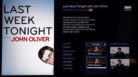 De to siste tilgjengelige episodene av Last Week Tonight er 18 og 21, mens fullverdige HBO-abonnenter har tilgang til alt opp til 26.