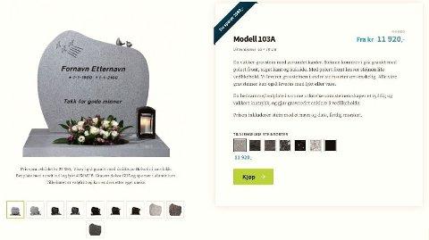 UVANT: For mange er det nok litt rart å kjøpe gravstein på nett. Men Gravstein24 gir full gass med spesialkampanjer, rabatter og salg likevel. Skjermdump: Gravstein24.no