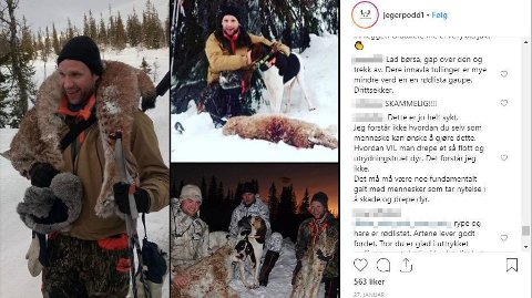 SLAKTES: På et av bildene til Instagram-profilen «jegerpodd1» renner det inn med kraftige reaksjoner. På bildet ser man John Petter Mellingen til venstre og øverst til høyre. Foto: Skjermdump