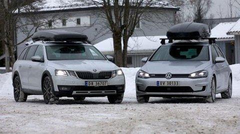 NAF testet forbruket med takboks på en Skoda Octavia stasjonsvogn med bensinmotor og en Volkswagen e-Golf. Resultatet er oppsiktsvekkende. Foto: NAF