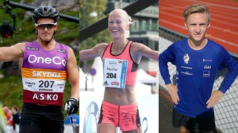FAVORITTER: Dette er tre av de sterkeste løperne som kommer til start i det direktesendte Ø-løpet Elite lørdag. Fra venstre: Morten Eide Pedersen, Marthe Katrine Myhre og Petter Johansen.