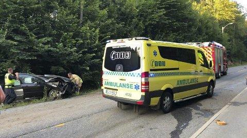 Kjørte i grøfta: Sjåføren som kjørte i grøfta hadde 1,35 i promille.