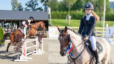 Viktoria Bjørklund Rødfjell på Orlando (t.v.) og Kajsa-Tua Nævermo-Sand på BB Monroe Lady.