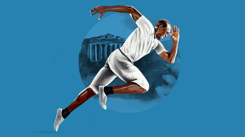 Slik hadde Usain Bolt vært kledd dersom han løp 100 meter i OL i Athen i 1896.