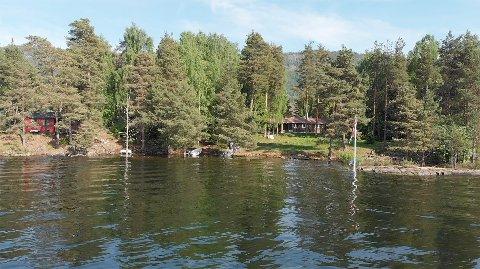 Selger av den åtte mål store eiendommen med hytte er Ringerike Eiendom AS. Prisantydning er 5,5 millioner kroner.