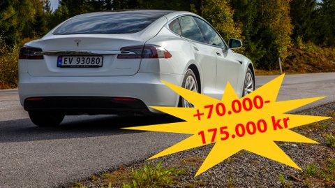 PRIS-SMELL: Tesla Model S er en av bilene som vil få en markant prisøkning med innføring av moms på elbiler over 600.000 kroner.