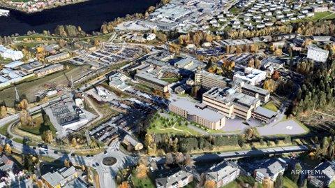 UTBYGGING: Sykehuset Telemark fikk utvidet låneramma. Dermed ligger det an til et nytt stålesenter for Telemark og Vestfold i Skien. (foto sykehuset Telemark)