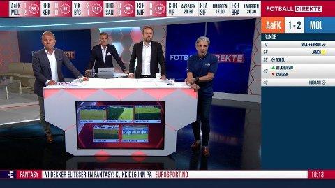 SLET MED STEMMEN: Erik Solér (t.h.) slet tydelig med å snakke underveis i tirsdagens Fotball Direkte-sending på Eurosport. Fra venstre står Bengt Eriksen, Carsten Skjelbreid og Bernt Hulsker. Foto: Dplay