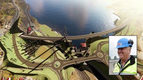 KAN VINNE NY E18-KONTRAKT: Slik skal det nye veisystemet ved Farriseidet i Larvik bli. Frank Duvholt, administrerende direktør i entreprenørselskapet Marthinsen & Duvholt, ligger an til å vinne kontrakten.