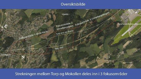 DOBBELTSPOR: Kartet viser det aktuelle området der Torp Vest- og Torp Vest via Storås skiller lag. Illustrasjon: Bane NOR