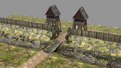 OLAVSVOLLEN: Stillbilde fra animasjonen som Arkikon  nå lager over middelalderbyen Borg.  Utsnittet viser hvordan  Olavsvollen kan ha sett ut.