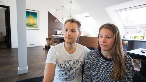 DÅRLIG ERFARING: Petter Nøtnes (36) og Tina Melhus (34) leier ut leiligheten sin på Majorstuen i Oslo på Airbnb. Erfaringene har ikke alltid vært god - for å si det mildt.