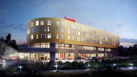 SCANDIC: Scandic-kjeden skal drive hotellet på Brennemoen. Scandic er Nordens største hotellkjede. Bildet er av Scanics hotell ved Flesland, Bergen Airport.  Foto: Scandic