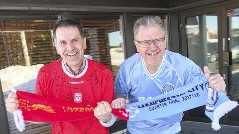 GLEDER SEG: Jan Tore Bjerkhreim og Erik Unaas gleder seg til tirsdagens kvartfinalekamp i Champions League.