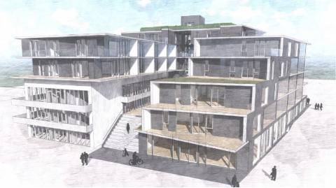 Slik kan Solagården se ut når eiendommen skal utvikles med leiligheter og kontor/forretning.