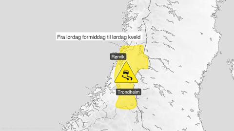 Glatt på lørdag: Store deler av norddelen av Trøndelag vil være glatt på lørdag.