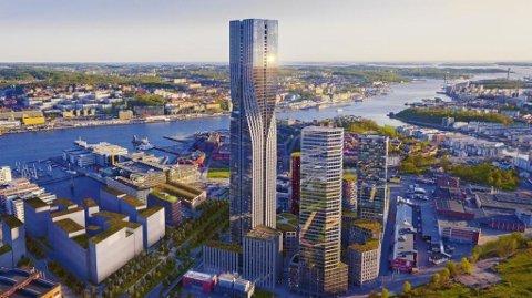 Karlatornet vil romme både en hotell og leiligheter/kontorer, men Nordic Choice Hotels vil viske ut grensene. Foto: Illustrasjon: Nordic Choice Hotels
