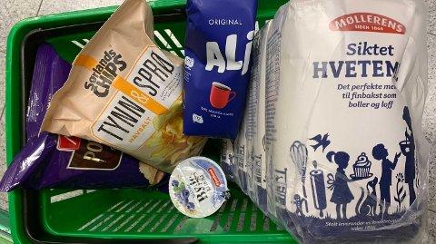 PRISKUTT: Disse varene er blant varene Kiwi nå kutter prisene på.Foto: Halvor Ripegutu (Mediehuset Nettavisen)