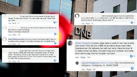 KUNDESTORM: Flere av DNBs kunder truet med å bytte bank. Foto: Montasje (NTB/Facebook (skjermdump))