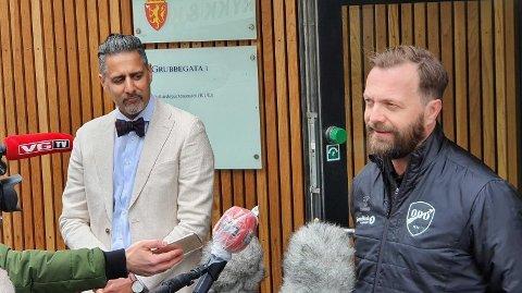 MØTTES TORSDAG: Abid Raja og Einar Håndlykken skværet opp etter den siste tidens meningsutveksling. Foto: Anders Fosse (Nettavisen)
