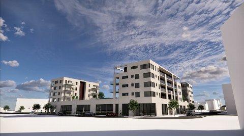 NY: Den nye bydelen - sett fra Bok og Blueshuset mot E134. (Alle tegninger: Arkitektkontoret ArkNet i Kristiansand).