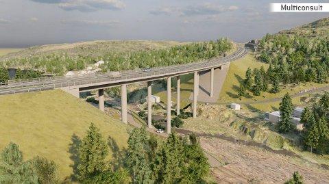 ELGSJØ: Slik vil det se ut nordøst fra ved Elgsjø med den nye brua. På denne siden av brua vil det bli lagt en 3000 kvadratmeter riggplass og hyttene i området skal innløses og rives.