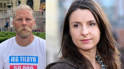 UAKTUELT: Sp-politiker Jenny Klinge vil endre lovverket om nødvendig for å forhindre at veganerne får statsstøtte. Samuel Rostøl (til venstre) er leder i Norsk vegansamfunn.