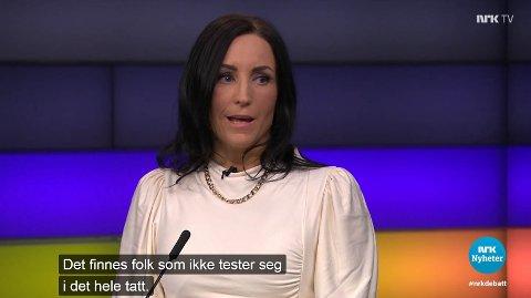 Ordfører i Aure kommune Hanne Berit Brekken under Debatten på NRK tirsdag.