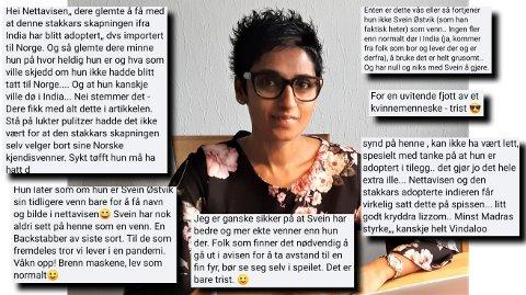 Ingrid Kruse Fevåg lot seg intervjue om koronasituasjonen i India og koronakritikere i Norge. Det tok ikke lang tid før meldingene mot henne kom i kommentarfelt og i sosiale medier. Innleggene på bildet er kommentarer som hun selv ønsker skal komme fram i offentligheten.
