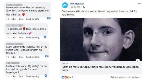 RØRT: Kommentarfeltet på Facebook flommer over av positive tilbakemeldinger. Foto: Faksimile/NRK