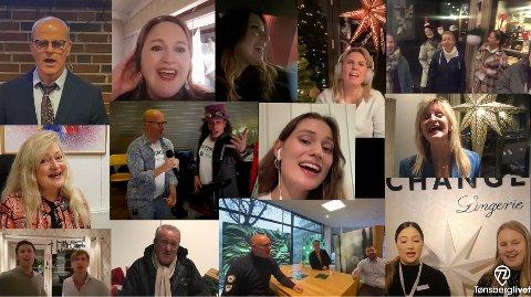 BAND TØNSBERGLIVET: Tønsberglivet samlet en rekke kjente fjes da de skulle lage et musikalsk video-julekort. Sluttresultatet er nå offentliggjort.